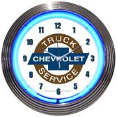 Retro CHEVY TRUCK NEON CLOCK 15 x 15 Inches