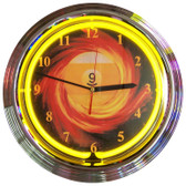 Retro 9 BALL FIRE NEON CLOCK 15 x 15 Inches