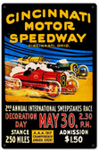 Retro Cincinnati Motor Speedway Metal Sign 12 x 18 Inches
