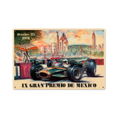 Retro Mexico 1970 Grand Prix Metal Sign 18 x 12 Inches