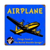 Retro Kids Airplane Metal Sign 12 x 12 Inches