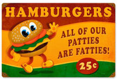 Retro Hamburger Fatties Metal Sign 18 x 12 Inches
