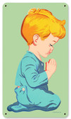 Retro Praying Boy Metal Sign 8 x 14 Inches