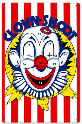 Retro Clown Shoot Metal Sign 12 x 18 Inches