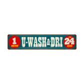 Retro Wash and Dri Metal Sign 28 x 6 Inches