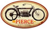 Retro Pierce 4 Cylinder Metal Sign 24 x 14 Inches