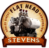 Retro Flat Head Engine Metal Sign 15 x 16 Inches