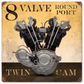 Retro 8 Valve Round Port Metal Sign 12 x 12 Inches