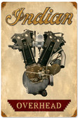 Retro Indian Engine Metal Sign 12 x 18 Inches