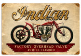 Retro Indian Hillclimber Metal Sign 18 x 12 Inches