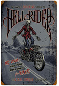 Retro Hell Rider Metal Sign 16 x 24 Inches