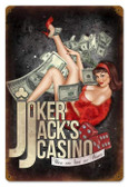 Vintage-Retro Joker Jacks Casino Metal-Tin Sign