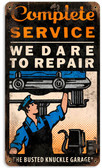 Retro Dare to Repair Tin Sign  8 x 14 Inches