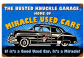 Retro Home Of Miracle Used Cars Metal Sign  18 x 12 Inches