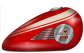 Retro Red Motorcycle Tank Custom Shape Metal Sign  18 x 10 Inches