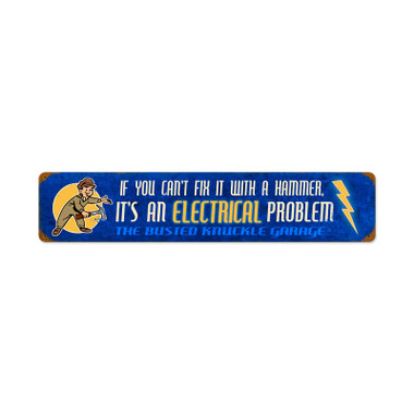 Retro Electrical Problem Tin Sign  28 x 6 Inches
