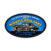Retro Miracle Used Cars Oval Metal Sign  24 x 14 Inches