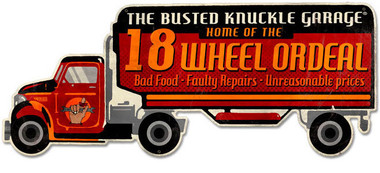 Retro Eighteen Wheel Ordeal Custom Shape Metal Sign 30 x 12 Inches