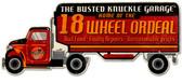 Retro Eighteen Wheel Ordeal Custom Shape Metal Sign 30 x 12 Inches