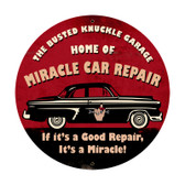 Retro Miracle Car Repair Round Metal Sign  28 x 28 Inches