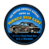 Retro Miracle Used Cars Round Metal Sign  28 x 28 Inches