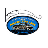 Retro Miracle Used Cars Double Sided Oval Metal Sign   24 x 14 Inches
