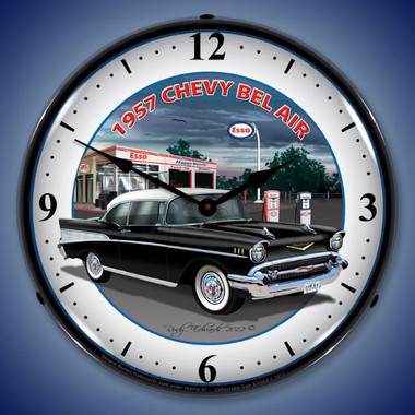 Retro 1957 Chevy Esso Lighted Wall Clock