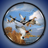 Mallards Lighted Wall Clock