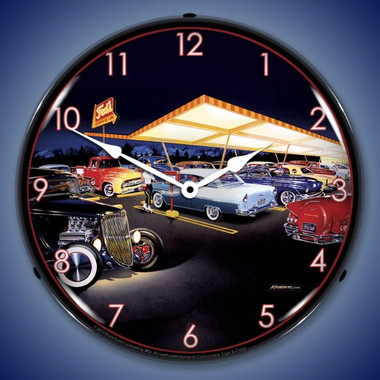 Retro Teds Drive In Lighted Wall Clock