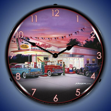 Retro Wallys Service Station Lighted Wall Clock