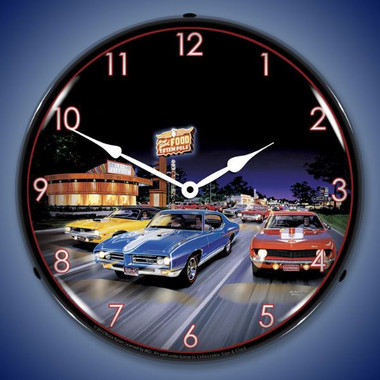 Retro Woodward Avenue Lighted Wall Clock