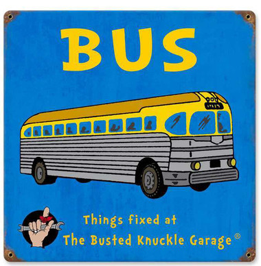 Retro Kids Bus Metal Sign  12 x 12 Inches