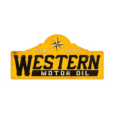 Retro Western Motor Oil Metal Sign  26 x 12 Inches