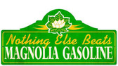 Retro Magnolia Gas Metal Sign  26 x 12 Inches