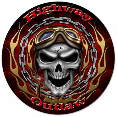 Vintage-Retro Highway Outlaw Round Metal-Tin Sign