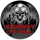 Vintage-Retro Highway to Hell Round Metal-Tin Sign