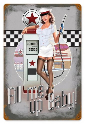Vintage-Retro 50's Pump Girl Metal-Tin Sign