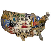 Retro License Plate Map Custom Metal Shape Sign  25 x 16 Inches