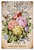 Retro Tinted Flowers Metal Sign 18 x 12 Inches