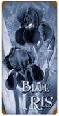 Retro Blue Irises Metal Sign 12 x 24 Inches