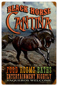 Retro Black Horse Cantina Metal Sign 12 x 18 Inches