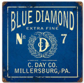Retro Blue Diamond Vintage Metal Sign 12 x 12 Inches