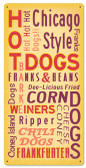 Retro Hot Dogs Metal Sign 12 x 24 Inches