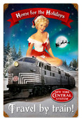 Retro Christmas Train Metal Sign 12 x 18 Inches