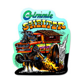Retro Gimme Shelter Custom Metal Shape 14 x 17 Inches