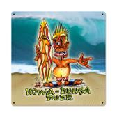 Retro Kawabunga Metal Sign 18 x 18 Inches