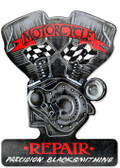 Retro Motorcycle Repair Custom Metal Shape 14 x 18 Inches