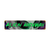Retro Alien Hwy Vintage Metal Sign 28 x 6 Inches
