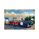 Retro Welcome to LA Vintage Metal Sign 12 x 18 Inches