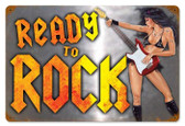 Vintage-Retro Ready to Rock Metal-Tin Sign
